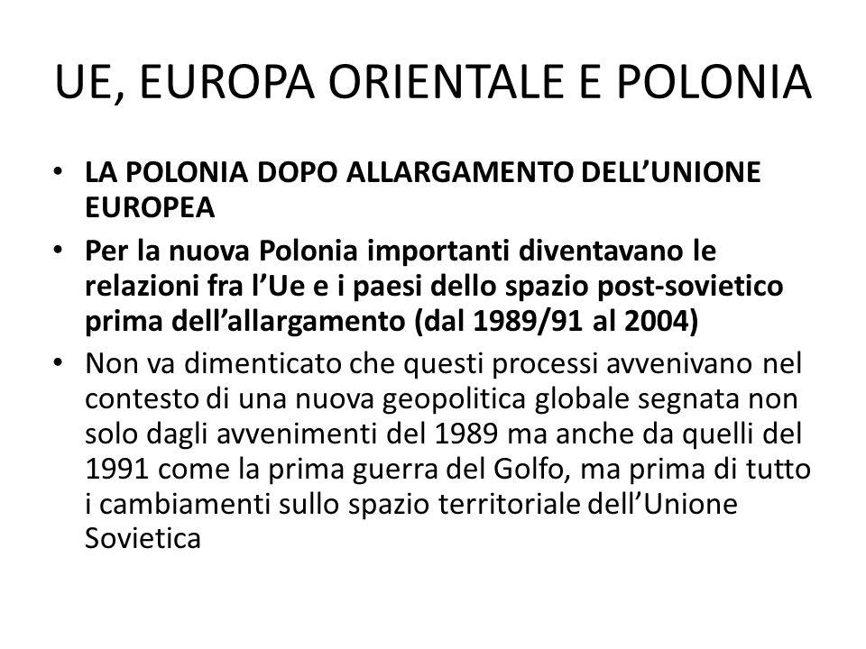 UE, EUROPA ORIENTALE E POLONIA LA POLONIA DOPO ALLARGAMENTO DELLUNIONE EUROPEA Per la nuova Polonia importanti diventavano le relazioni fra lUe e i pa
