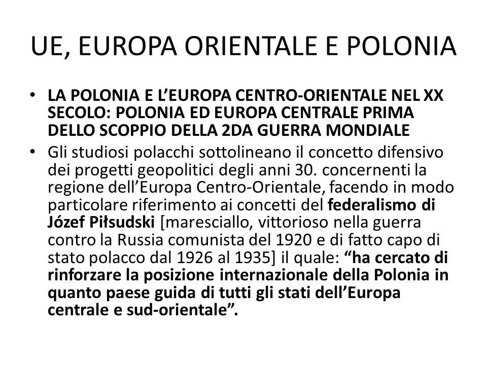 UE, EUROPA ORIENTALE E POLONIA LA POLONIA E LEUROPA CENTRO-ORIENTALE NEL XX SECOLO: POLONIA ED EUROPA CENTRALE PRIMA DELLO SCOPPIO DELLA 2DA GUERRA MONDIALE La chiave per lo sviluppo della collaborazione regionale nellEuropa centro-orientale, dipendeva, nel periodo fra le due guerre, dal livello dei rapporti fra la Polonia e la Cecoslovacchia, e quelli negli anni 30.