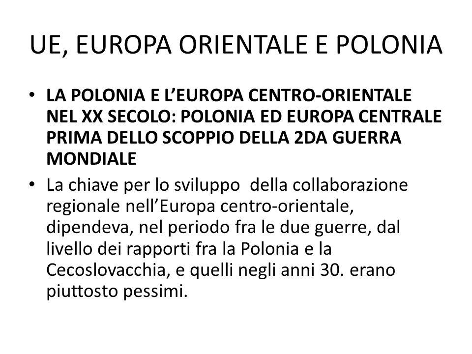 UE, EUROPA ORIENTALE E POLONIA LA POLONIA E LEUROPA CENTRO-ORIENTALE NEL XX SECOLO: POLONIA ED EUROPA CENTRALE PRIMA DELLO SCOPPIO DELLA 2DA GUERRA MONDIALE I governanti della Polonia e della Cecoslovacchia non erano convinti della stabilita e della duratura della struttura statale del partner ed infine identificavano diversamente il pericolo per loro e per tutta la regione.