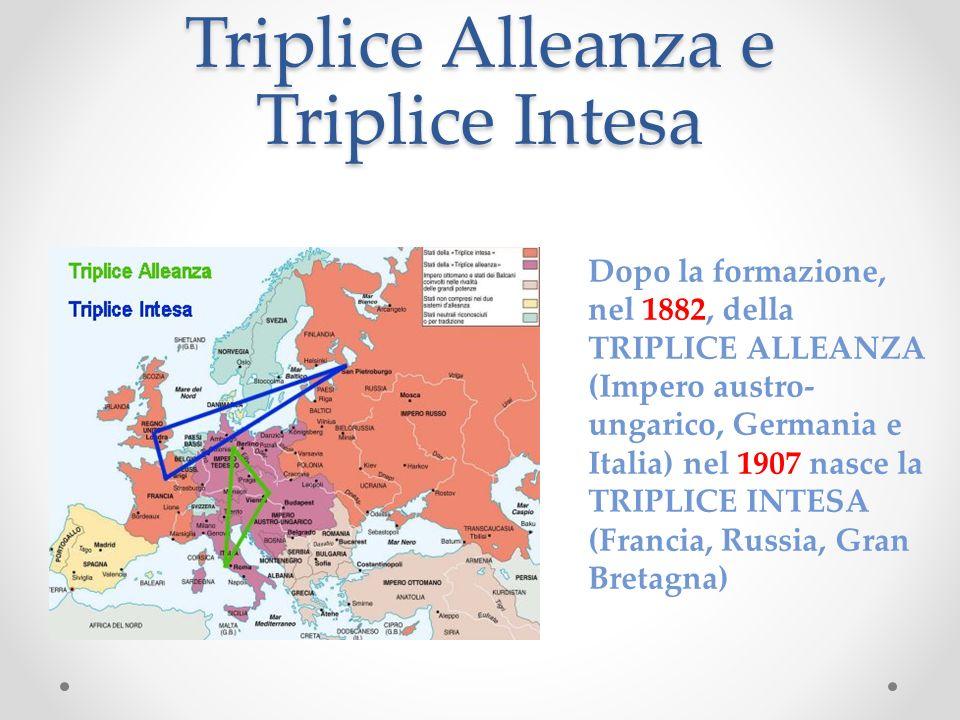 Triplice Alleanza e Triplice Intesa Dopo la formazione, nel 1882, della TRIPLICE ALLEANZA (Impero austro- ungarico, Germania e Italia) nel 1907 nasce