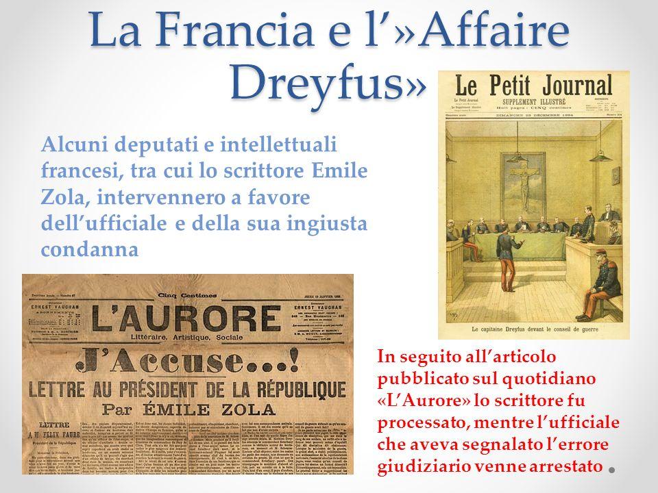 La Francia e l»Affaire Dreyfus» Alcuni deputati e intellettuali francesi, tra cui lo scrittore Emile Zola, intervennero a favore dellufficiale e della