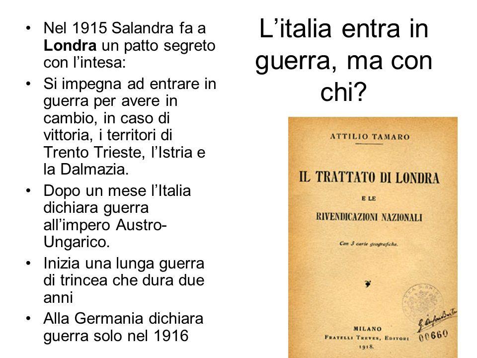 Cosa succede in Italia? In Italia con Giolitti al governo da inizio secolo prevale ancora la posizione dei neutralisti ma ci sono altre due correnti c