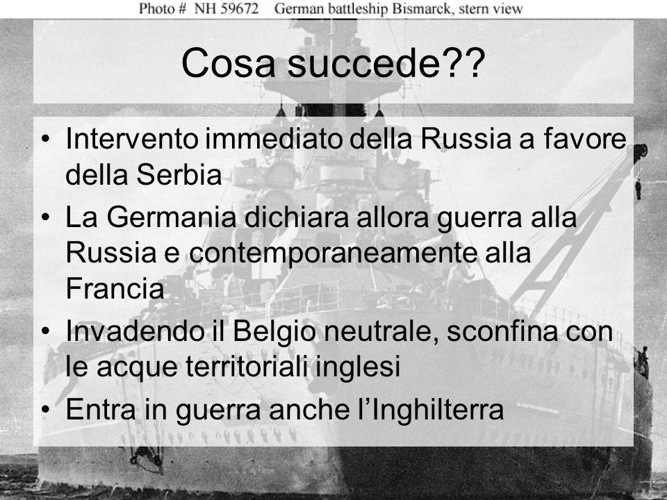 Cosa scatena il conflitto? Lattentato di Sarajevo in cui un serbo uccide lerede al trono dellimpero austro- ungarico Ma cerano gia conflitti in tutta