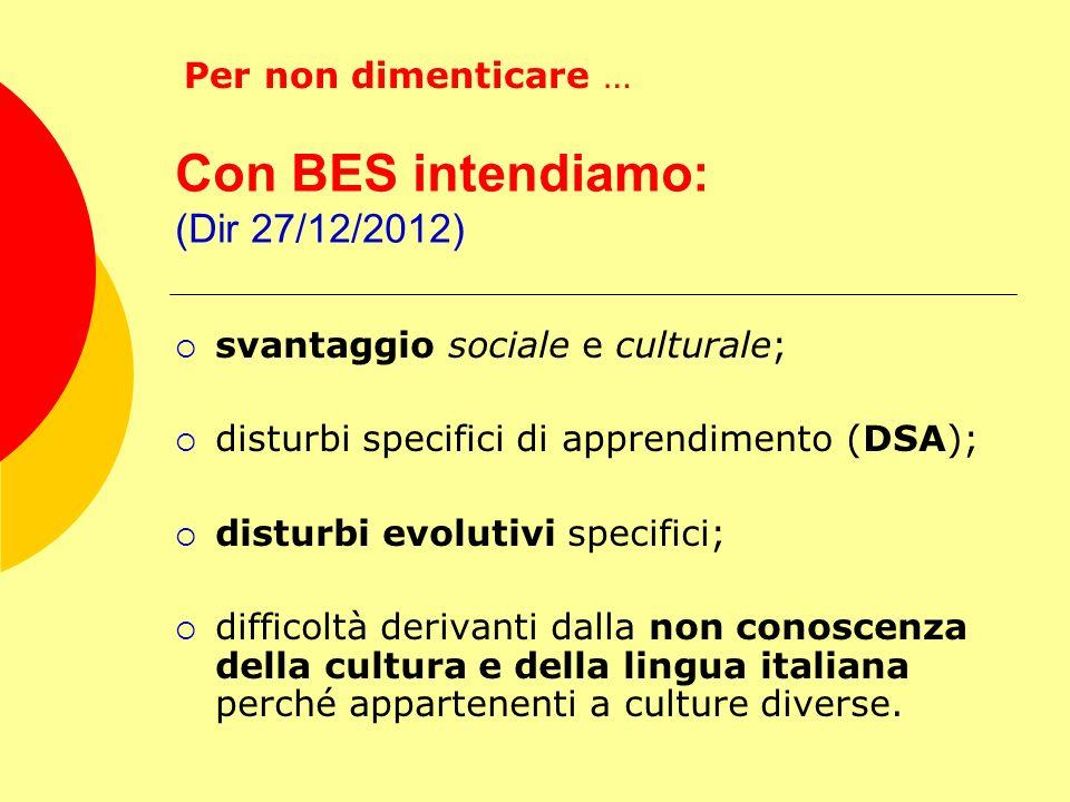 Con BES intendiamo: (Dir 27/12/2012) svantaggio sociale e culturale; disturbi specifici di apprendimento (DSA); disturbi evolutivi specifici; difficol