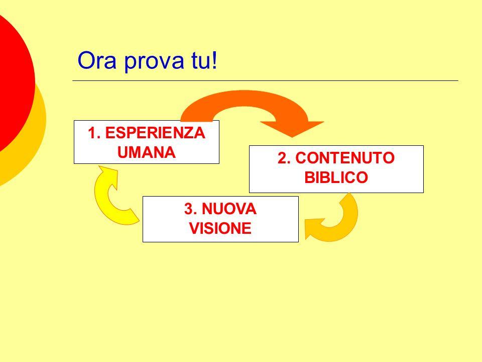 Ora prova tu! 1. ESPERIENZA UMANA 2. CONTENUTO BIBLICO 3. NUOVA VISIONE