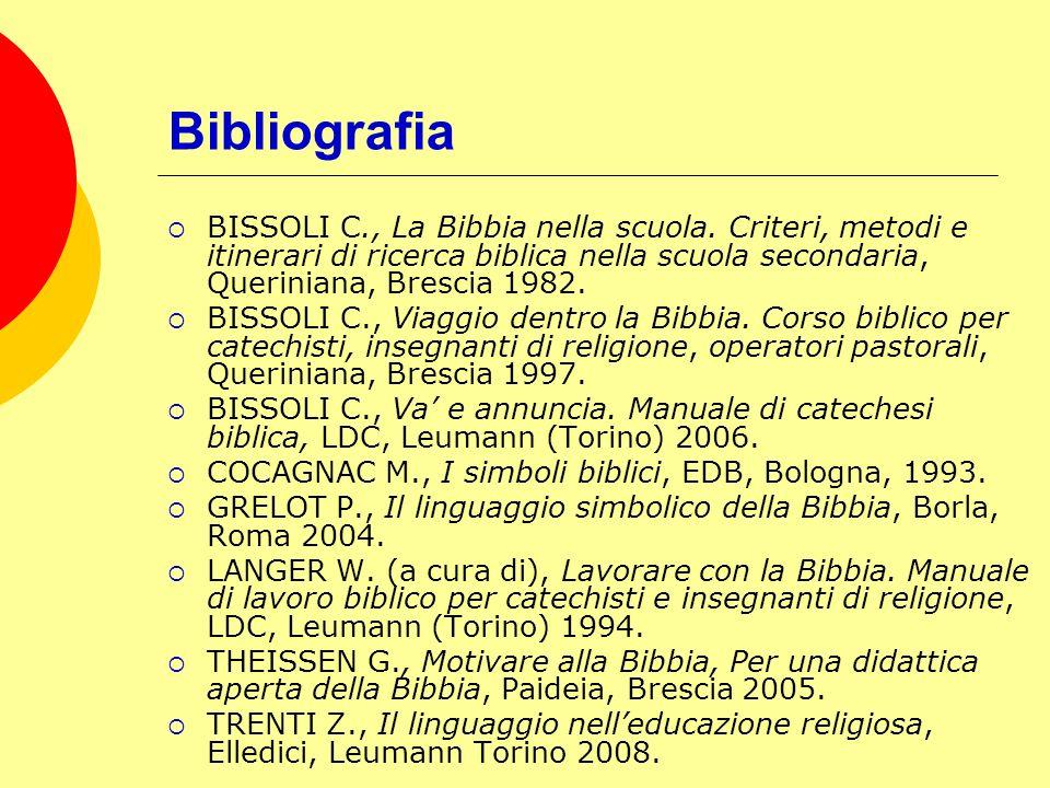 Bibliografia BISSOLI C., La Bibbia nella scuola. Criteri, metodi e itinerari di ricerca biblica nella scuola secondaria, Queriniana, Brescia 1982. BIS