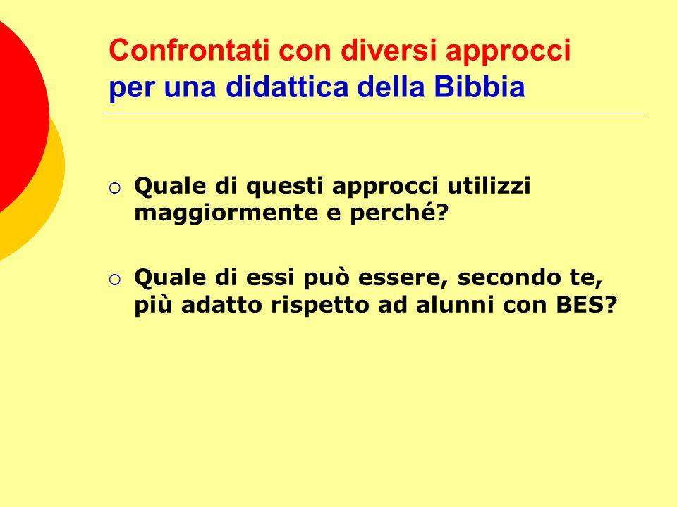 Confrontati con diversi approcci per una didattica della Bibbia Quale di questi approcci utilizzi maggiormente e perché? Quale di essi può essere, sec