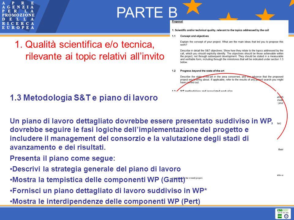 PARTE B 1. Qualità scientifica e/o tecnica, rilevante ai topic relativi allinvito 1.3 Metodologia S&T e piano di lavoro Un piano di lavoro dettagliato