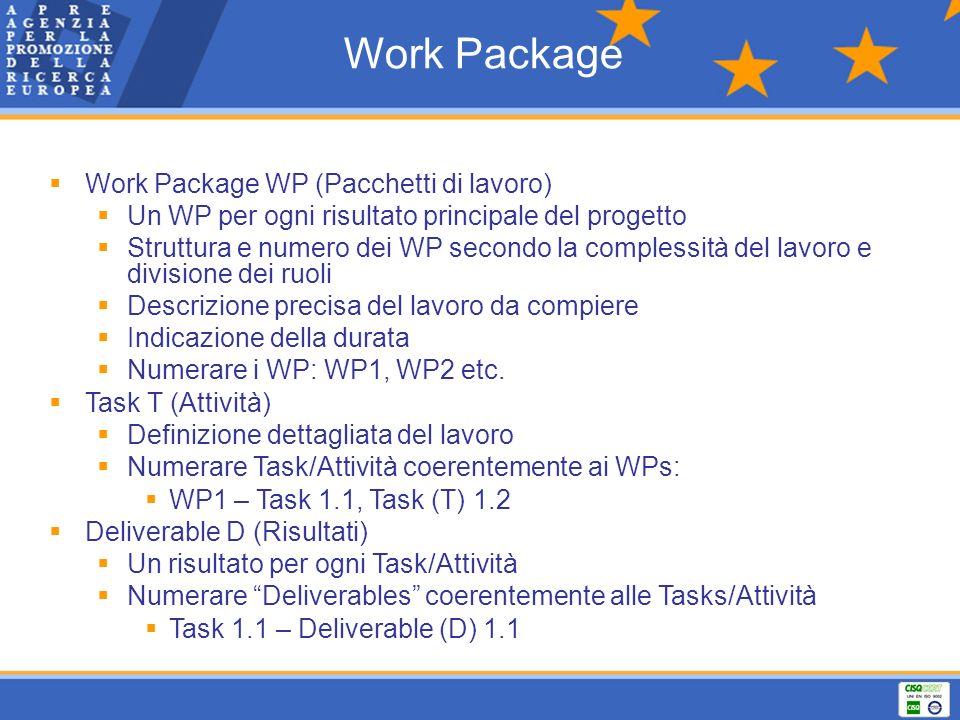 Work Package Work Package WP (Pacchetti di lavoro) Un WP per ogni risultato principale del progetto Struttura e numero dei WP secondo la complessità d