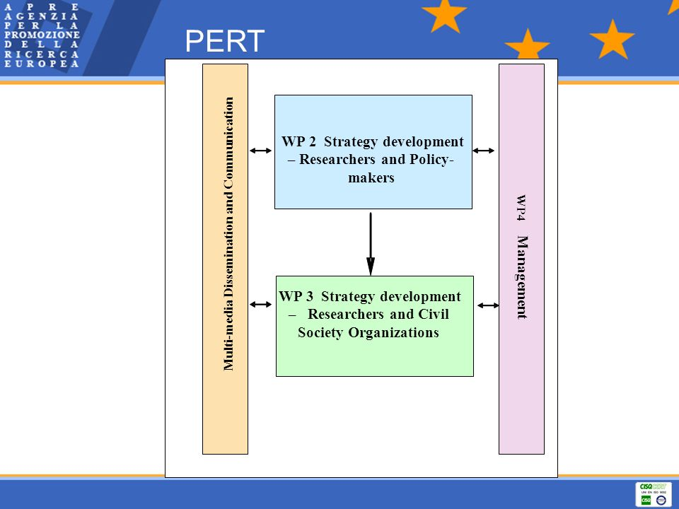 PERT WP 2 Strategy development – Researchers and Policy- makers Multi-media Dissemination and Communication Management WP4 WP 3 Strategy development –