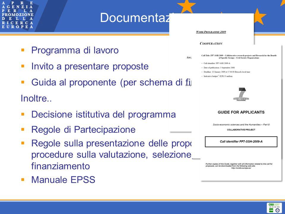 Documentazione Programma di lavoro Invito a presentare proposte Guida al proponente (per schema di finanziamento) Inoltre.. Decisione istitutiva del p
