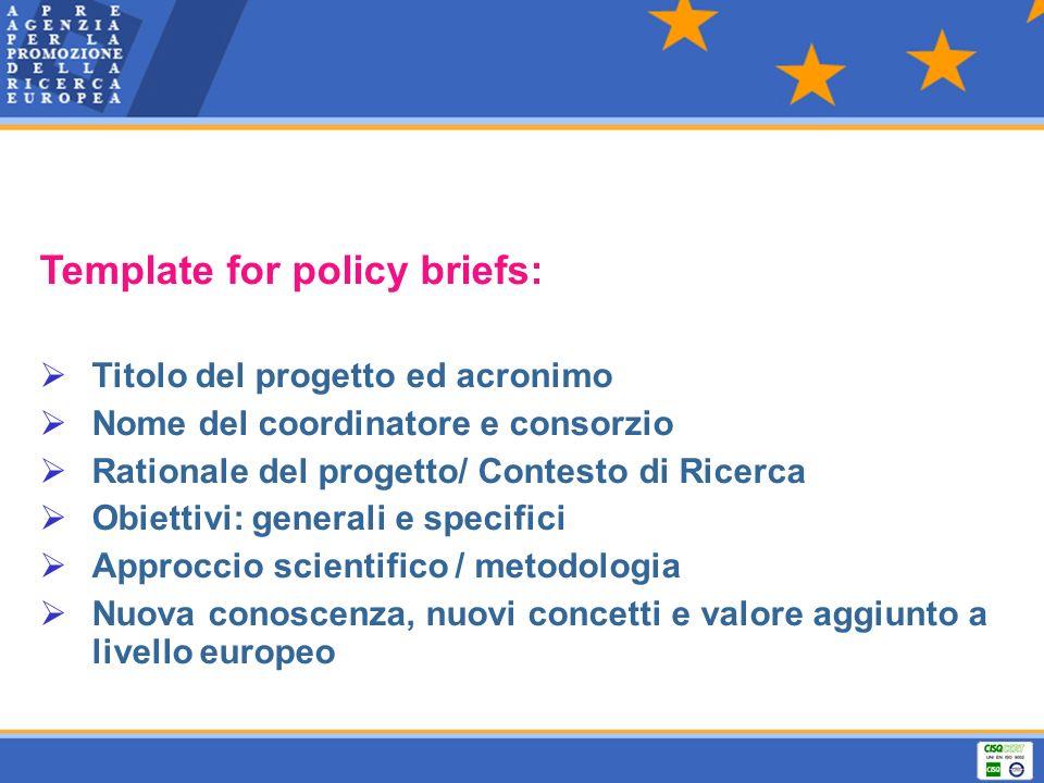 Template for policy briefs: Titolo del progetto ed acronimo Nome del coordinatore e consorzio Rationale del progetto/ Contesto di Ricerca Obiettivi: g