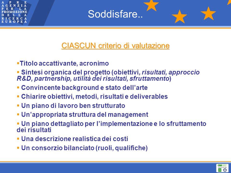 Soddisfare.. CIASCUN criterio di valutazione Titolo accattivante, acronimo Sintesi organica del progetto (obiettivi, risultati, approccio R&D, partner