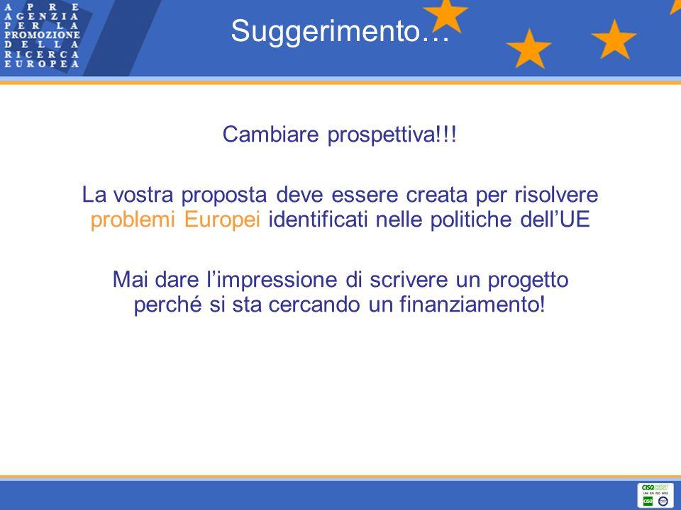 Suggerimento… Cambiare prospettiva!!! La vostra proposta deve essere creata per risolvere problemi Europei identificati nelle politiche dellUE Mai dar