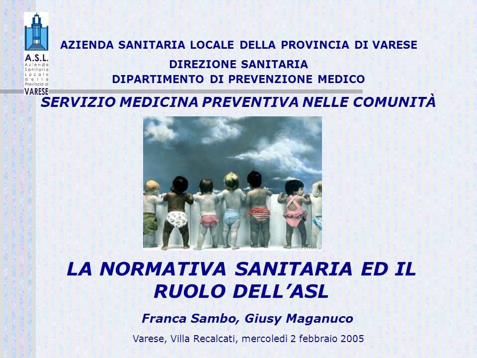 AZIENDA SANITARIA LOCALE DELLA PROVINCIA DI VARESE DIREZIONE SANITARIA DIPARTIMENTO DI PREVENZIONE MEDICO SERVIZIO MEDICINA PREVENTIVA NELLE COMUNITÀ