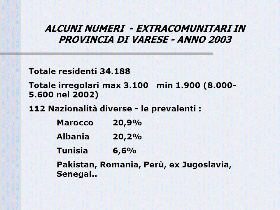 ALCUNI NUMERI - EXTRACOMUNITARI IN PROVINCIA DI VARESE - ANNO 2003 Totale residenti 34.188 Totale irregolari max 3.100 min 1.900 (8.000- 5.600 nel 200