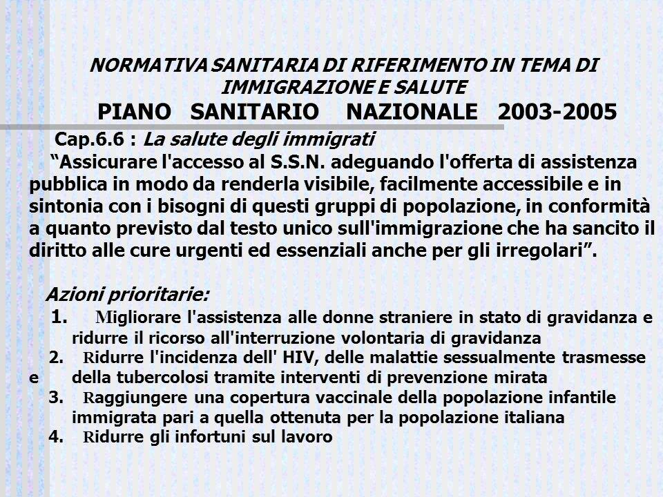 NORMATIVA SANITARIA DI RIFERIMENTO IN TEMA DI IMMIGRAZIONE E SALUTE PIANO SANITARIO NAZIONALE 2003-2005 Cap.6.6 : La salute degli immigrati Assicurare