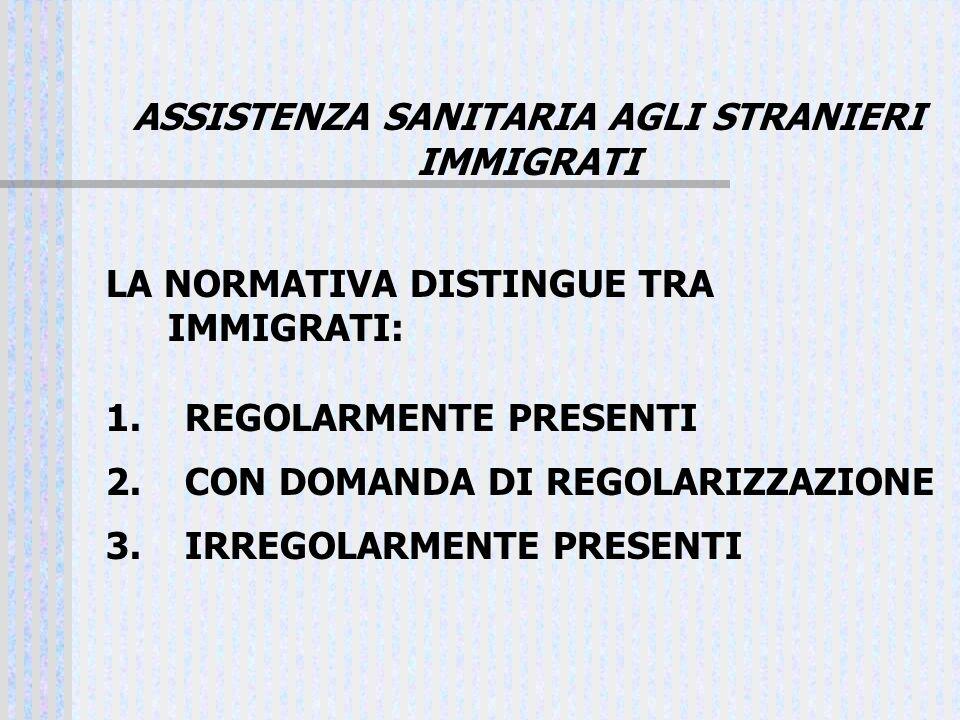 ASSISTENZA SANITARIA AGLI STRANIERI IMMIGRATI LA NORMATIVA DISTINGUE TRA IMMIGRATI: 1. REGOLARMENTE PRESENTI 2. CON DOMANDA DI REGOLARIZZAZIONE 3. IRR