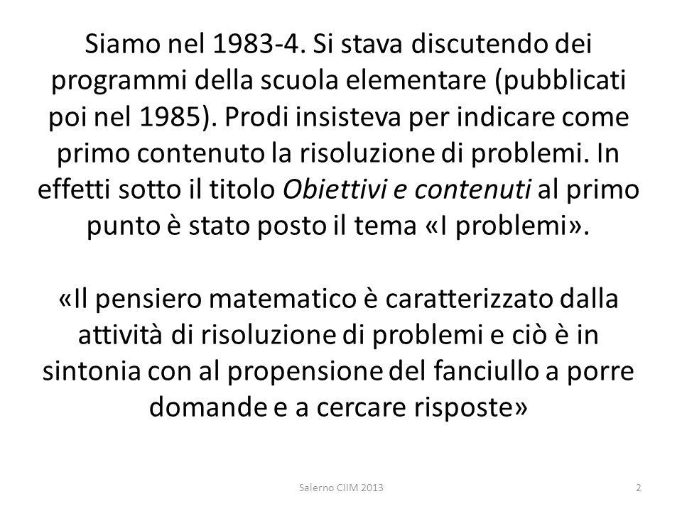 Siamo nel 1983-4. Si stava discutendo dei programmi della scuola elementare (pubblicati poi nel 1985). Prodi insisteva per indicare come primo contenu