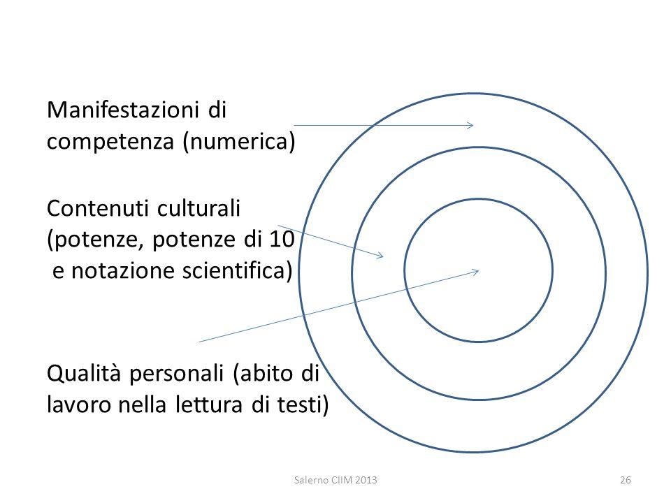 Manifestazioni di competenza (numerica) Contenuti culturali (potenze, potenze di 10 e notazione scientifica) Qualità personali (abito di lavoro nella