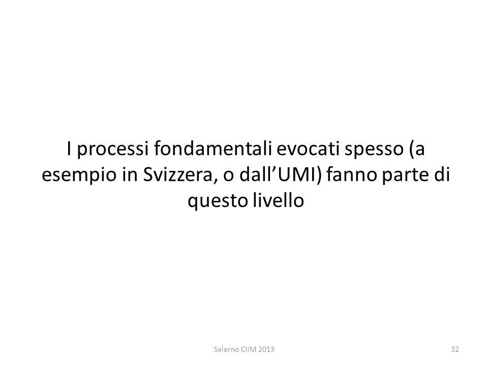 I processi fondamentali evocati spesso (a esempio in Svizzera, o dallUMI) fanno parte di questo livello Salerno CIIM 201332