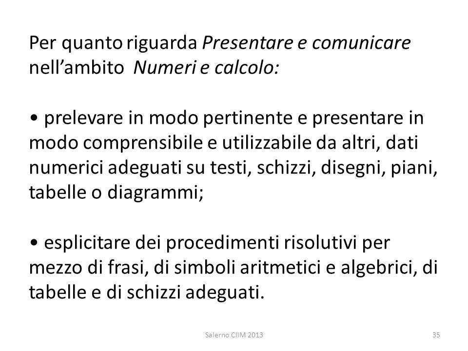 Per quanto riguarda Presentare e comunicare nellambito Numeri e calcolo: prelevare in modo pertinente e presentare in modo comprensibile e utilizzabil