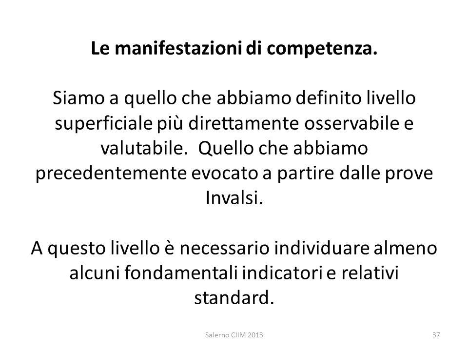 Le manifestazioni di competenza. Siamo a quello che abbiamo definito livello superficiale più direttamente osservabile e valutabile. Quello che abbiam