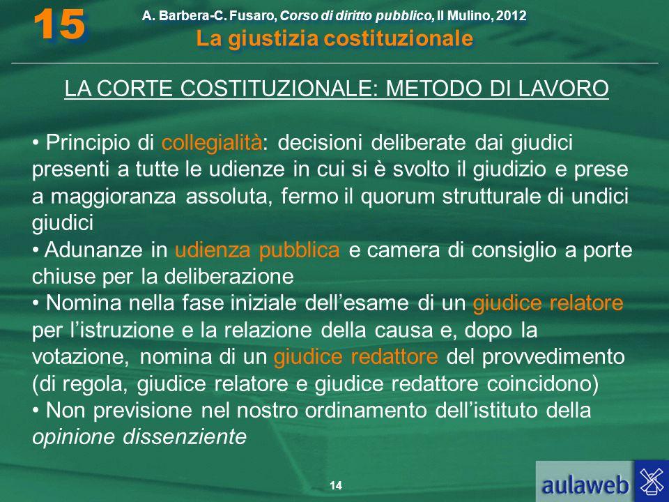 14 A. Barbera-C. Fusaro, Corso di diritto pubblico, Il Mulino, 2012 La giustizia costituzionale 15 LA CORTE COSTITUZIONALE: METODO DI LAVORO Principio