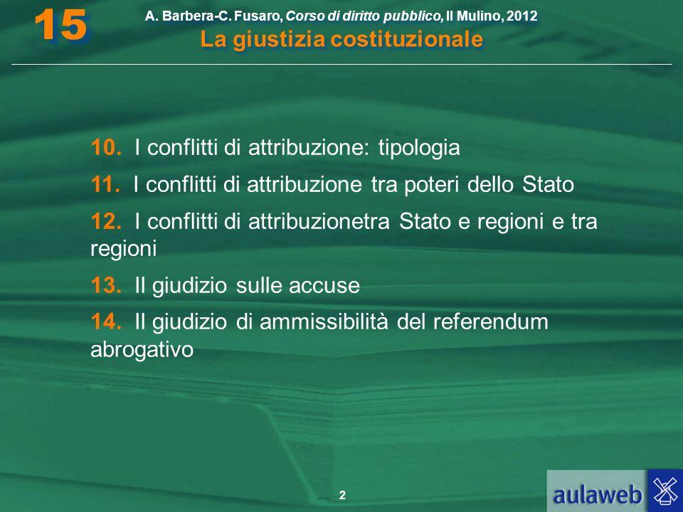 2 A. Barbera-C. Fusaro, Corso di diritto pubblico, Il Mulino, 2012 La giustizia costituzionale 15 10. I conflitti di attribuzione: tipologia 11. I con