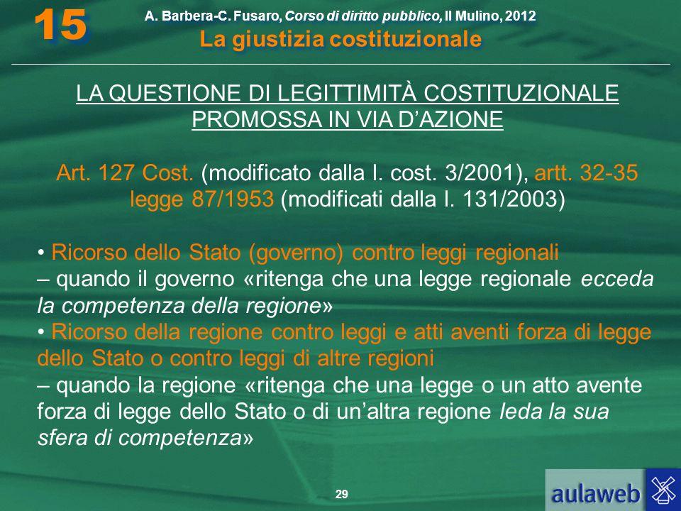 29 A. Barbera-C. Fusaro, Corso di diritto pubblico, Il Mulino, 2012 La giustizia costituzionale 15 LA QUESTIONE DI LEGITTIMITÀ COSTITUZIONALE PROMOSSA
