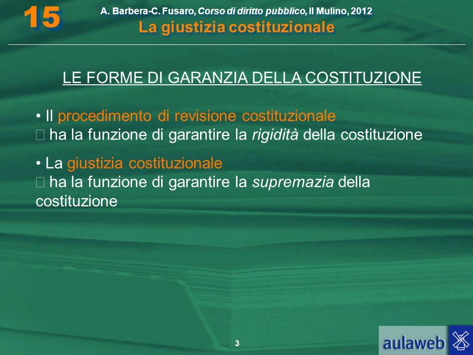 3 A. Barbera-C. Fusaro, Corso di diritto pubblico, Il Mulino, 2012 La giustizia costituzionale 15 LE FORME DI GARANZIA DELLA COSTITUZIONE Il procedime