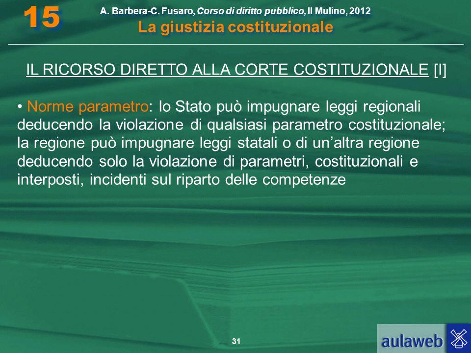 31 A. Barbera-C. Fusaro, Corso di diritto pubblico, Il Mulino, 2012 La giustizia costituzionale 15 IL RICORSO DIRETTO ALLA CORTE COSTITUZIONALE [I] No