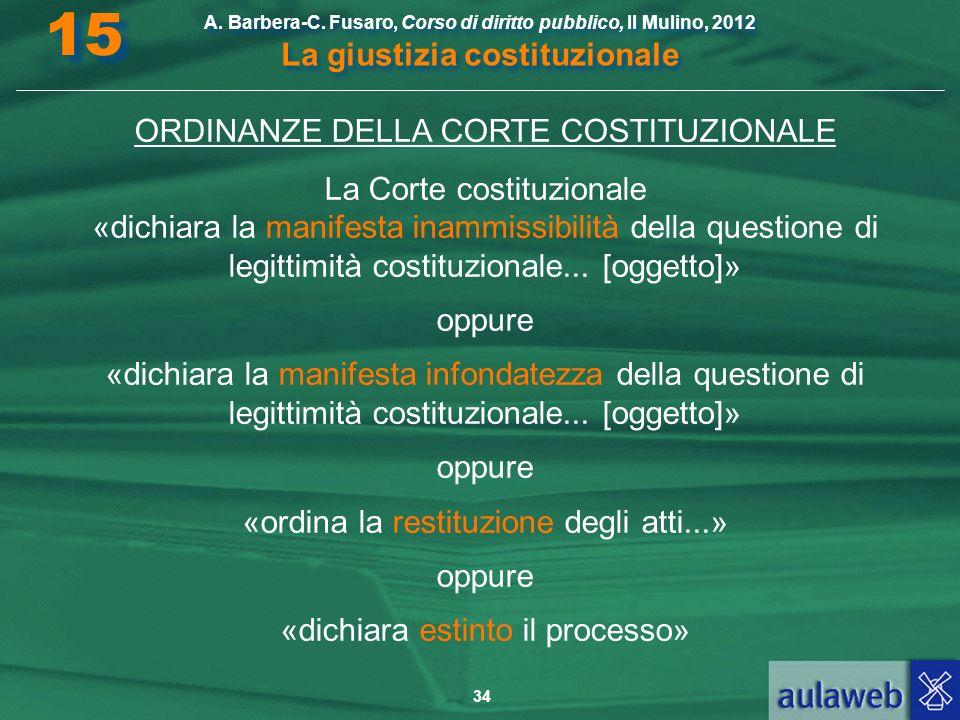 34 A. Barbera-C. Fusaro, Corso di diritto pubblico, Il Mulino, 2012 La giustizia costituzionale 15 ORDINANZE DELLA CORTE COSTITUZIONALE La Corte costi