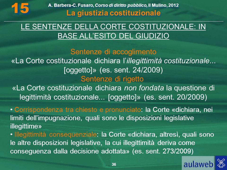 36 A. Barbera-C. Fusaro, Corso di diritto pubblico, Il Mulino, 2012 La giustizia costituzionale 15 LE SENTENZE DELLA CORTE COSTITUZIONALE: IN BASE ALL