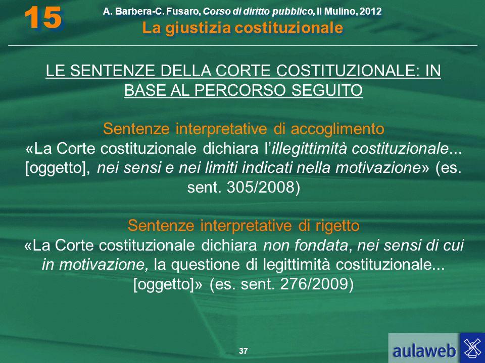 37 A. Barbera-C. Fusaro, Corso di diritto pubblico, Il Mulino, 2012 La giustizia costituzionale 15 LE SENTENZE DELLA CORTE COSTITUZIONALE: IN BASE AL