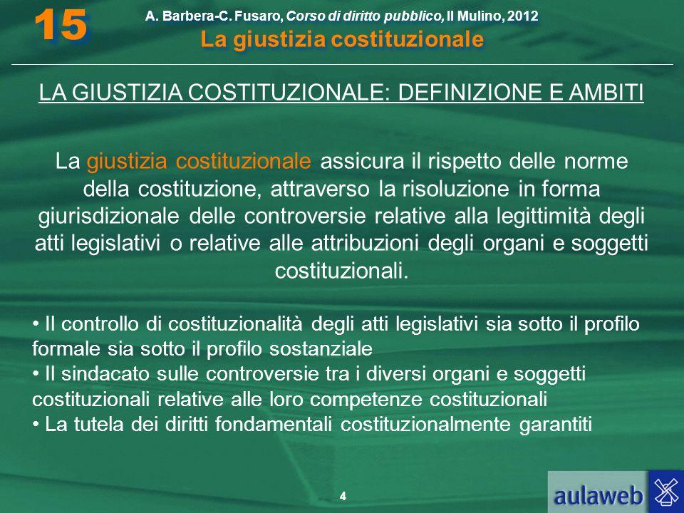 4 A. Barbera-C. Fusaro, Corso di diritto pubblico, Il Mulino, 2012 La giustizia costituzionale 15 LA GIUSTIZIA COSTITUZIONALE: DEFINIZIONE E AMBITI La