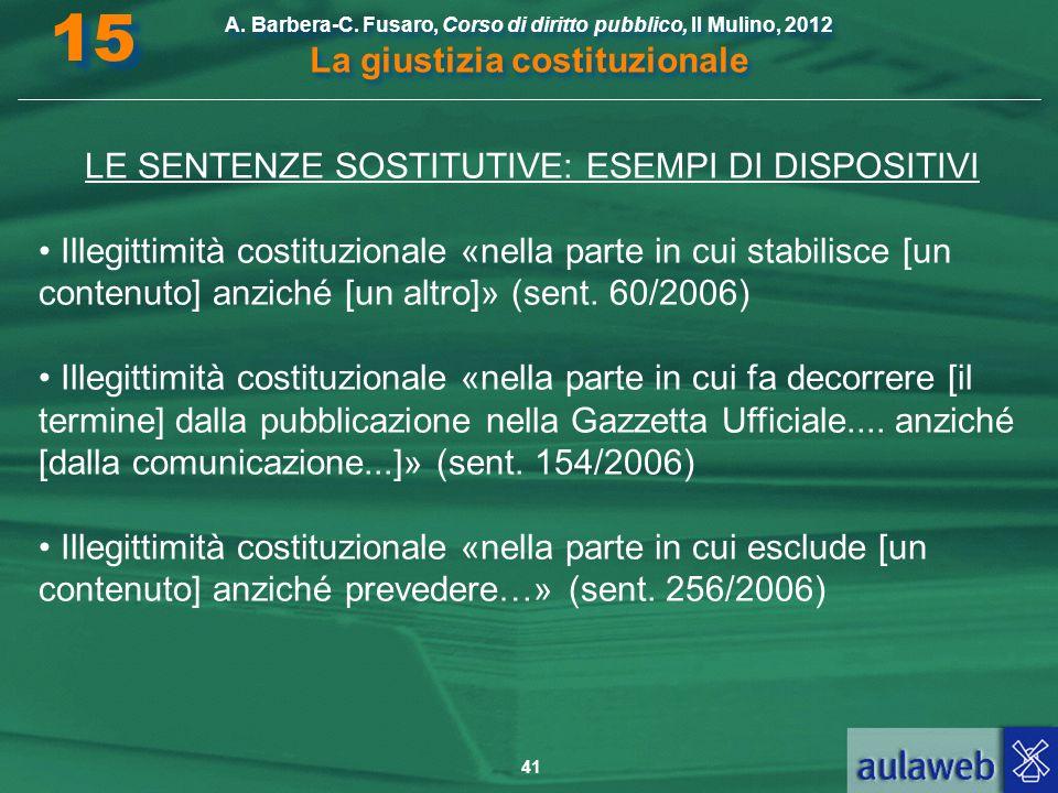 41 A. Barbera-C. Fusaro, Corso di diritto pubblico, Il Mulino, 2012 La giustizia costituzionale 15 LE SENTENZE SOSTITUTIVE: ESEMPI DI DISPOSITIVI Ille