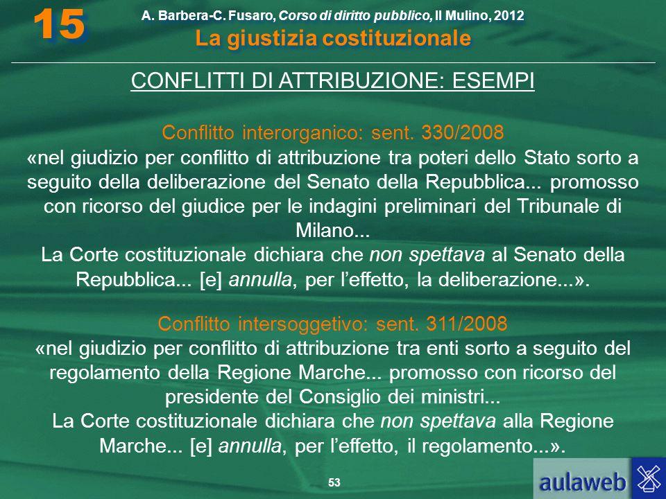 53 A. Barbera-C. Fusaro, Corso di diritto pubblico, Il Mulino, 2012 La giustizia costituzionale 15 CONFLITTI DI ATTRIBUZIONE: ESEMPI Conflitto interor
