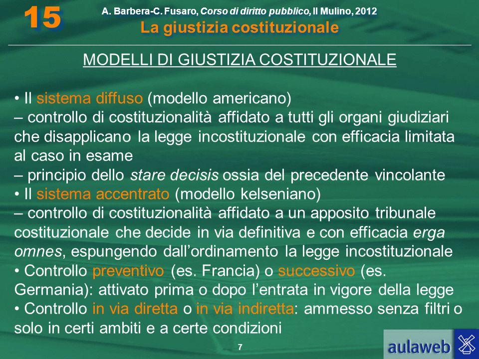 7 A. Barbera-C. Fusaro, Corso di diritto pubblico, Il Mulino, 2012 La giustizia costituzionale 15 MODELLI DI GIUSTIZIA COSTITUZIONALE Il sistema diffu