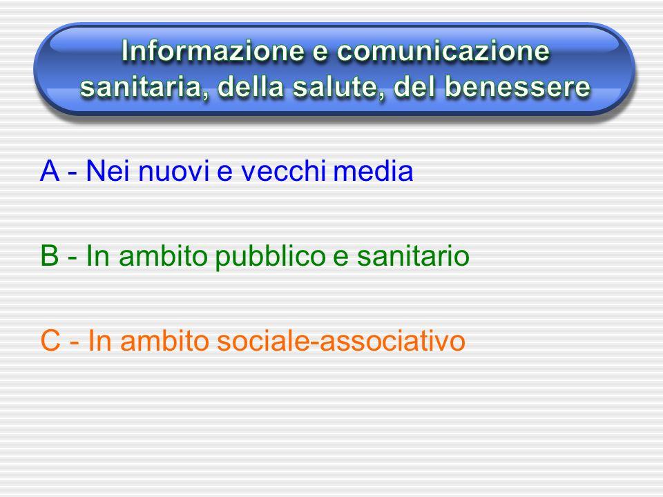 A - Nei nuovi e vecchi media B - In ambito pubblico e sanitario C - In ambito sociale-associativo
