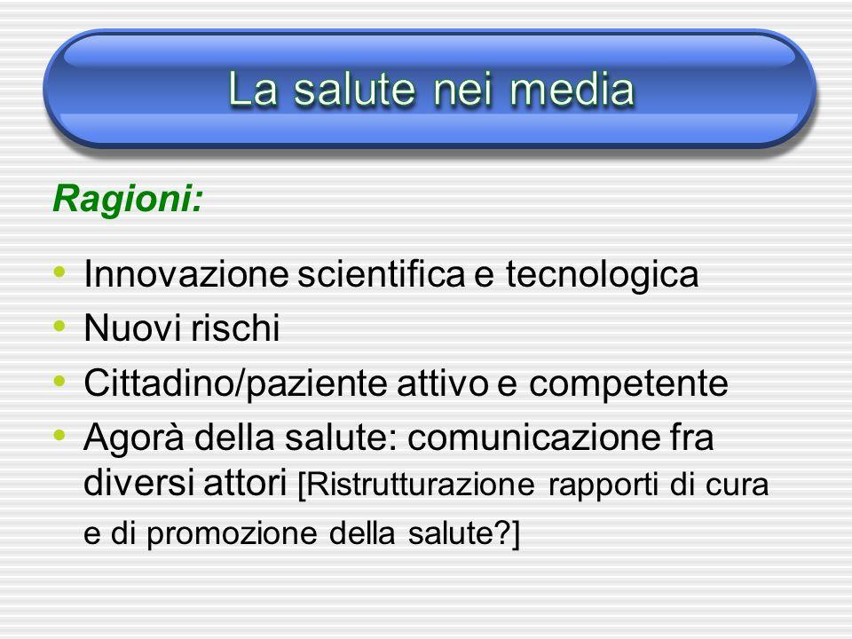 Ragioni: Innovazione scientifica e tecnologica Nuovi rischi Cittadino/paziente attivo e competente Agorà della salute: comunicazione fra diversi attori [Ristrutturazione rapporti di cura e di promozione della salute ]