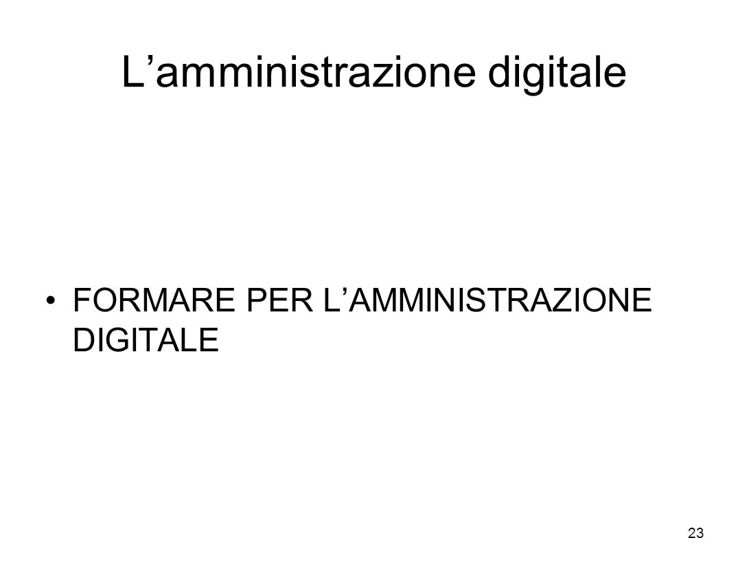 Lamministrazione digitale FORMARE PER LAMMINISTRAZIONE DIGITALE 23