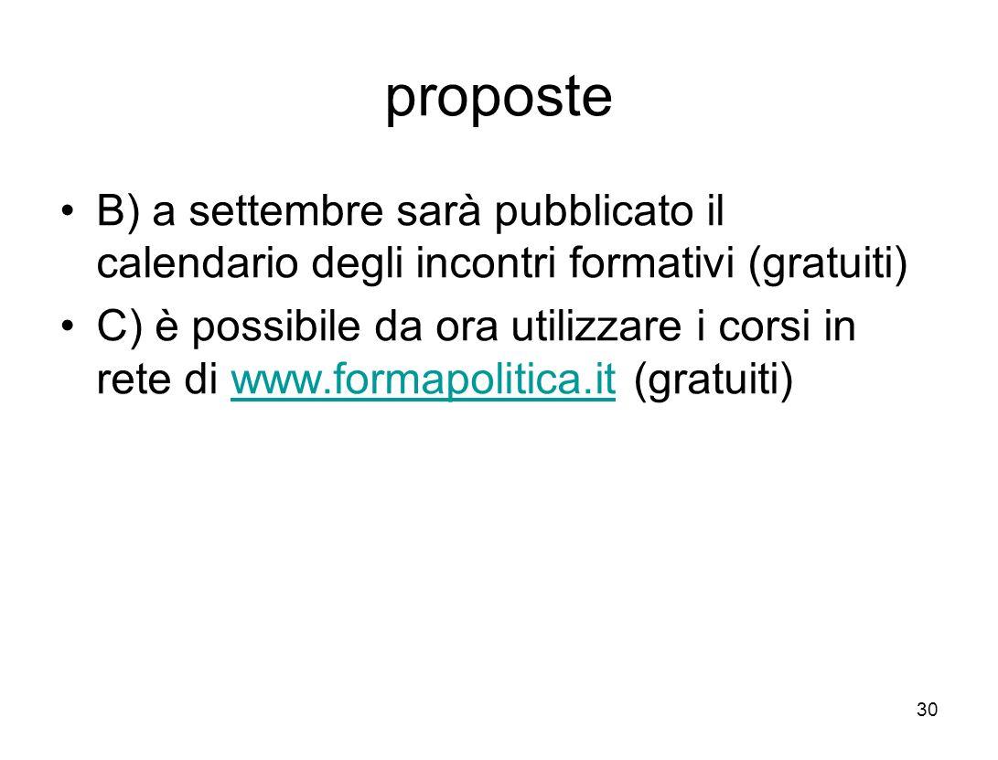 proposte B) a settembre sarà pubblicato il calendario degli incontri formativi (gratuiti) C) è possibile da ora utilizzare i corsi in rete di www.formapolitica.it (gratuiti)www.formapolitica.it 30