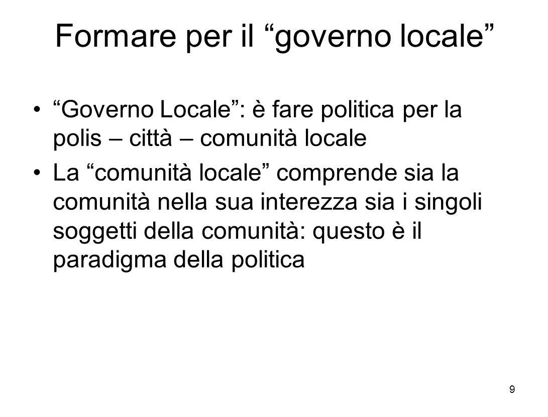 Formare per il governo locale Governo Locale: è fare politica per la polis – città – comunità locale La comunità locale comprende sia la comunità nella sua interezza sia i singoli soggetti della comunità: questo è il paradigma della politica 9