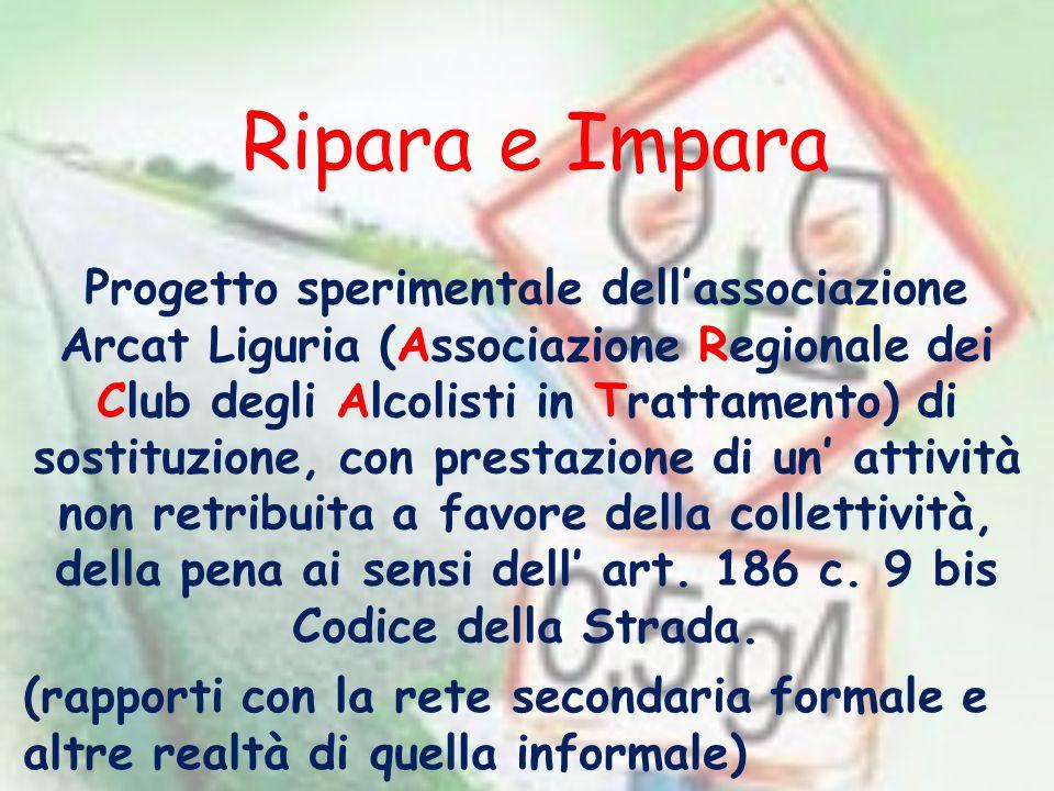 Ripara e Impara Progetto sperimentale dellassociazione Arcat Liguria (Associazione Regionale dei Club degli Alcolisti in Trattamento) di sostituzione,