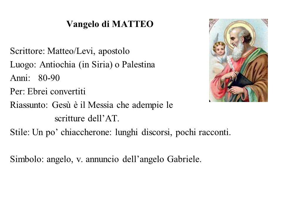 Vangelo di MARCO Scrittore: Giovanni/Marco, discepolo di Pietro Luogo: Roma Anni: 65-70 Per: romani Riassunto: Gesù è linviato di Dio.