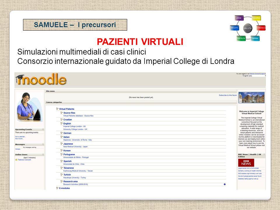 PAZIENTI VIRTUALI Simulazioni multimediali di casi clinici Consorzio internazionale guidato da Imperial College di Londra SAMUELE – I precursori