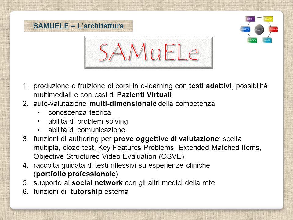 SAMUELE – Larchitettura 1.produzione e fruizione di corsi in e-learning con testi adattivi, possibilità multimediali e con casi di Pazienti Virtuali 2