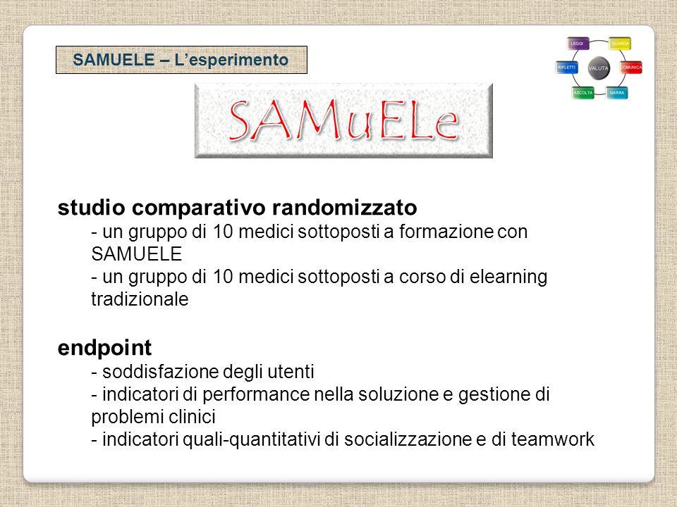 SAMUELE – Lesperimento studio comparativo randomizzato - un gruppo di 10 medici sottoposti a formazione con SAMUELE - un gruppo di 10 medici sottopost
