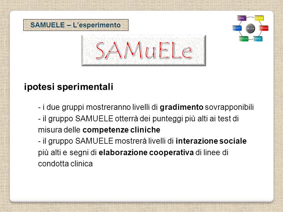 SAMUELE – Lesperimento ipotesi sperimentali - i due gruppi mostreranno livelli di gradimento sovrapponibili - il gruppo SAMUELE otterrà dei punteggi p